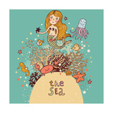 The Sea Ģ'' Bright Cartoon Card with Mermaid, Octopus, Fishes, Crab and  Fotoprint van  smilewithjul