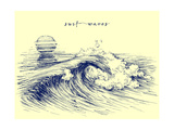 Surf Waves. Sea Waves Graphic. Ocean Wave Sketch Photographic Print by  Danussa