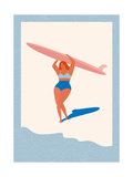 Art Deco Poster with Surfer Girl Caring Longboard on the Beach. Beach Lifestyle Poster in Retro Sty Photographic Print by  Tasiania