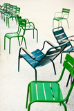 Green Metallic Chairs in the City Park. Photo with Tilt-Shift Lens Photographic Print by Anatoli Styf