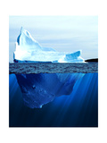 A Large Iceberg in the Cold Blue Cold Water. Collage Photographic Print by Sergey Nivens