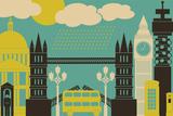Illustration of London Symbols and Landmarks. Photographic Print by Iveta Angelova