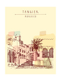 Old Town (Medina) in Tangier, Morocco, Northern Africa. Mosque, Palm Tree. Travel Sketch. Vertical Photographic Print by  babayuka