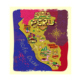 Illustrated Map of Peru. Travel Photographic Print by  Daria_I