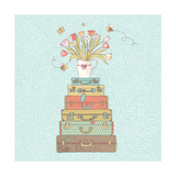 Concept Cartoon Card in Vector. Cases with Beautiful Tulips in Vase. Vintage Travel Concept Backgro Photographic Print by  smilewithjul
