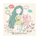 Cute Zodiac Sign - Aquarius. Vector Illustration. Little Girl with Long Beautiful Hair with Her Pin Photographic Print by  smilewithjul