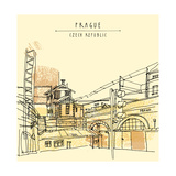 Vector Hand Drawn Artistic Illustration of Old Industrial Buildings near Bus Station in Prague, Cze Photographic Print by  babayuka