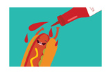Hot Dog and Ketchup Have Fun. Vector Illustration of Fast Food. Photographic Print by Mila Dubas