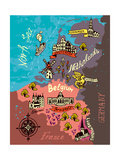 Illustrated Map of the Netherlands, Belgium, Luxembourg Photographic Print by  Daria_I