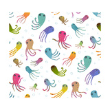 Colorful Kids Cartoon Octopus Seamless Pattern Background. Childish Animals Cute Backdrop Tileable Fotoprint van  Popmarleo