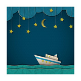 Paper Cruise Liner at Night. Creative Vector Eps 10 Photographic Print by  A-R-T