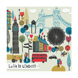 Colorful Illustration of London Landmarks Photographic Print by  Lavandaart