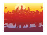 Angkor Wat in Sunset (Vector) - Illustrated Scenery of an Ancient Ruin Photographic Print by  fat_fa_tin