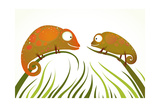 Two Colorful Lizards Sitting on Grass Background Staring. Funny Smiling Chameleons Childish Illustr Photographic Print by  Popmarleo