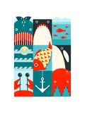 Flat Sea and Fish Rectangular Nautical Set. Marine Design Collection. Raster Variant. Photographic Print by  Popmarleo
