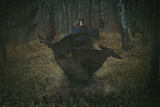 Witch of the Forest with Her Crows . Dark Fantasy and Magic Reproduction photographique par  CaptBlack76