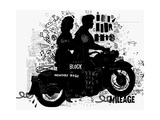 The Symbolic Image of the Motorcycle on Which the Man and Woman Photographic Print by  Dmitriip