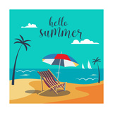 Hello Summer Poster. Tropical Beach with Palm Trees and Umbrella. Vector Background Photographic Print by  ivector