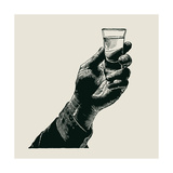 Male Hand Holding a Shot of Alcohol Drink. Hand Drawn Design Element. Engraving Style. Vector Illus Photographic Print by  jumpingsack