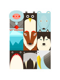 Flat Arctic and North Pole Symbols Set. North Pole Animals Collection. Raster Variant. Photographic Print by  Popmarleo