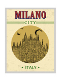 Cathedral of Milano, Italy in Vintage Style Poster, Vector Illustration Photographic Print by  ducu59us