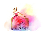 Hand Drawn Traveling Woman with Luggage Photographic Print by Anna Ismagilova