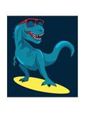 Surfer, Dinosaur, Monster Vector Design for Tee Photographic Print by  braingraph