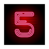 Realistic Red Neon Number. Number with Neon Tube Light on Dark Background. Vector Neon Typeface For Photographic Print by Oleg Vyshnevskyy