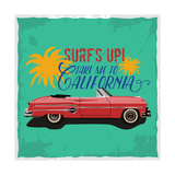 Hand Drawn Retro Car with a Text 'Take Me to California', T-Shirt Design Photographic Print by  Heather_insane