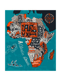 Illustrated Map of Africa Photographic Print by  Daria_I