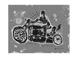 Symbolic Image of an Old Racing Motorcycle with Cradles Photographic Print by  Dmitriip