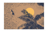 Tropical Landscape with Palms Trees, Two Birds and Sun. Linocut Style. Vector Illustration. Photographic Print by  jumpingsack