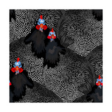 Abstract Illustration of Two Rooster and Hen (Chicken) in Background Black White Polka Dots, Cock S Photographic Print by Viktoriya Panasenko