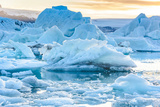 Beautiful View of Icebergs in Jokulsarlon Glacier Lagoon, Iceland, Global Warming and Climate Chang Photographic Print by  pichetw