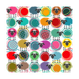 Colorful Seamless Sheep and Yarn Balls Pattern. Seamless Sheep Pattern. Vector Eps10. No Effects Us Photographic Print by  Popmarleo