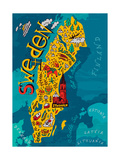 Illustrated Map of Sweden Photographic Print by  Daria_I