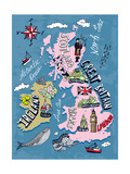 Illustrated Map of the UK and Ireland Photographic Print by  Daria_I