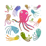 Colorful Octopus Isolated on White Cartoon Clip Art Collection. under the Sea Marine Life Cute Cart Fotoprint van  Popmarleo