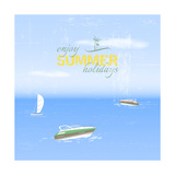 Summer Holidays Background by the Sea in Retro Style Photographic Print by  ftotti10