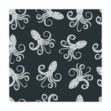 Vintage Seamless Pattern with Typography Monochrome Octopus Silhouette, and Hand Drawn Style Font. Fotoprint van Vitaliy Zuyenko