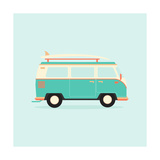 Color Full Surfer Van. Transportation and Surfing, Sport Board, Vector Illustration Photographic Print by  Guaxinim
