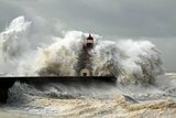 Entry of Douro River Harbor on the First Big Storm of the Year; Wind Gusts Reach 140/150 Km; Photo Photographic Print by Zacarias Pereira da Mata