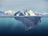 Iceberg with above and Underwater View Taken in Greenland Photographic Print by  posteriori