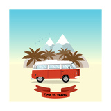Retro Minivan with Palm Trees and Mountains on the Background. Vintage Style Hippie Bus. Vector Fla Photographic Print by  yurgo
