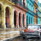 Cuba Fuerte Collection SQ - Colorful Buildings and Red Taxi Car Photographic Print by Philippe Hugonnard