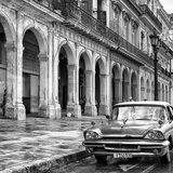 Cuba Fuerte Collection SQ BW - Colorful Buildings and Taxi Car II Photographic Print by Philippe Hugonnard