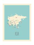 Mappa blu - Asia Poster di Rebecca Lane