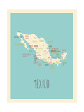 Blue Mexico Map Poster by Rebecca Lane