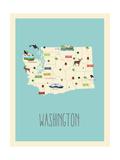 Washington Blue Map Posters van Rebecca Lane