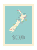 Blue New Zealand Map Prints by Rebecca Lane
